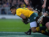 Kieran Read tackles Will Genia during the Rugby Championship and Bledisloe Cup rugby match between the New Zealand All Blacks and Australia Wallabies at Forsyth Barr Stadium in Dunedin, New Zealand on Saturday, 26 August 2017. Photo: Dave Lintott / lintottphoto.co.nz