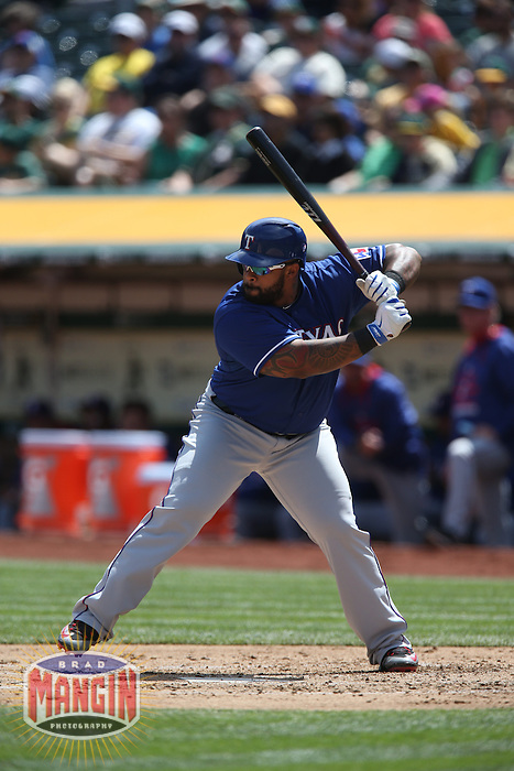 OAKLAND, CA - APRIL 9:  Prince Fielder #84 of the Texas Rangers bats against the Oakland Athletics during the game at O.co Coliseum on Thursday, April 9, 2015 in Oakland, California. Photo by Brad Mangin