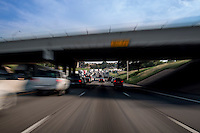 Motion blur image of Downtown Austin's stretch of I-35 named the most congested roadway in Texas.