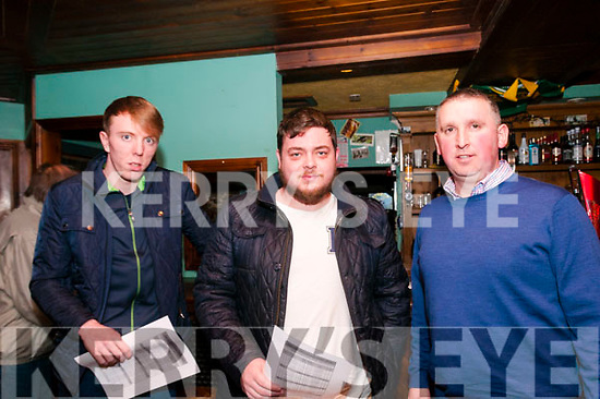 Clonmel Coursing Preview: Attending the Clonmel Coursing preview at the Dew Drop Inn bar, Lixnaw on Sunday evening last were Darragh Sheehan, Mossie Leen, & Peter O'Reilly