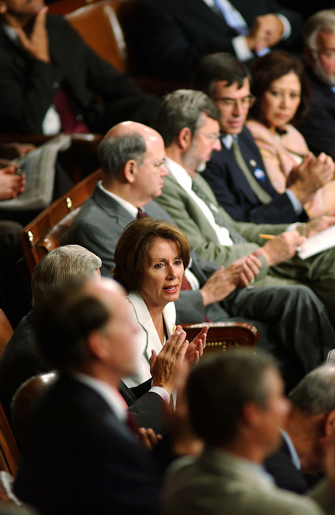 9/23/04.ALLAWI SPEECH--House Minority Leader Nancy Pelosi, D-Calif., during the address by Iraqi Interim Prime Minister Ayad Allawi to a joint House-Senate meeting..CONGRESSIONAL QUARTERLY PHOTO BY SCOTT J. FERRELL