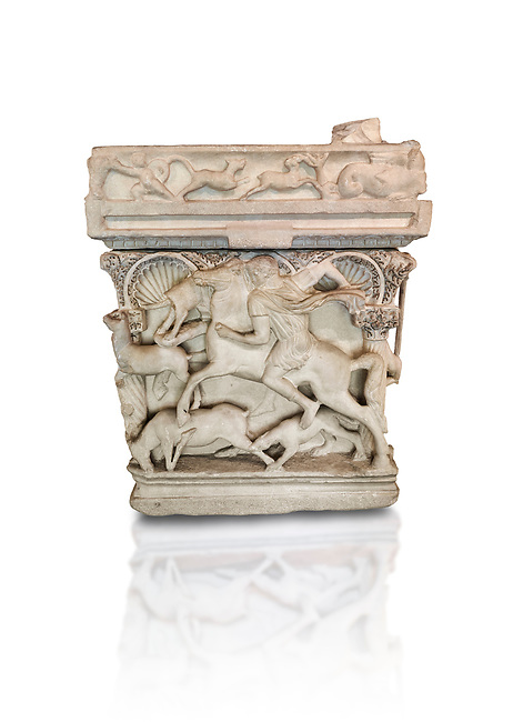 """End panel of a Roman relief sculpted sarcophagus with kline couch lid, """"Columned Sarcophagi of Asia Minor"""" style typical of Sidamara, 3rd Century AD, Konya Archaeological Museum, Turkey. Against a white background."""