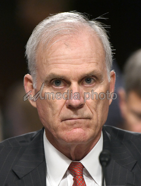 """United States Secretary Of The Navy Richard V. Spencer testifies before the US Senate Committee on Armed Services on """"Recent United States Navy Incidents at Sea"""" on Capitol Hill in Washington, DC on Tuesday, September 19, 2017.  The hearing is investigating the two separate collisions with the USS Fitzgerald and USS John S. McCain that resulted in the loss of 17 US Sailors. Photo Credit: Ron Sachs/CNP/AdMedia"""