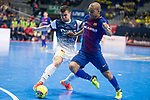 Barcelona Lassa Leonardo Santana da Silva and R. Renov. Zaragoza Oscar Villanueva during Futsal Spanish Cup 2018 at Wizink Center in Madrid , Spain. March 16, 2018. (ALTERPHOTOS/Borja B.Hojas)