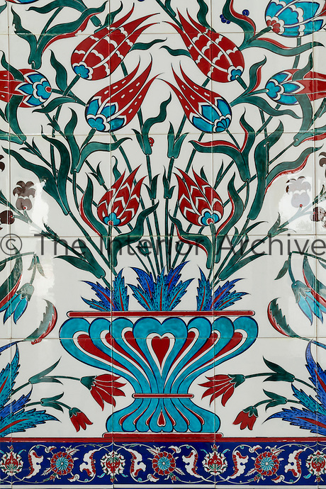 The Sheikh Zayed Grand Mosque in Abu Dhabi, also known as the White Mosque, is a masterpiece of architecture and craftsmanship. Detail of the Iznik tiled panel.