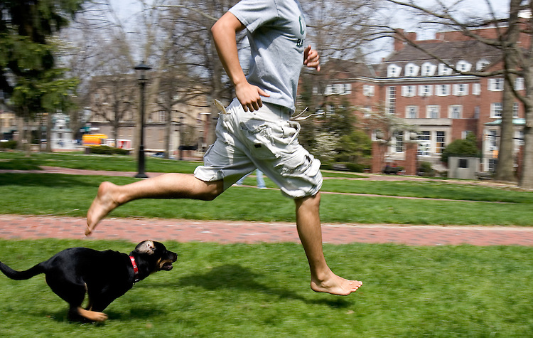 Student Will DeFisher and his puppy Dodger take some laps around the College Green on O.U.'s campus on Monday, 4/24/07.