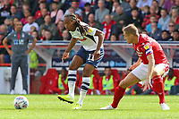 Preston North End's Daniel Johnson plays the ball away from Nottingham Forest Michael Dawson<br /> <br /> Photographer David Shipman/CameraSport<br /> <br /> The EFL Sky Bet Championship - Nottingham Forest v Preston North End - Saturday 31st August 2019 - The City Ground - Nottingham<br /> <br /> World Copyright © 2019 CameraSport. All rights reserved. 43 Linden Ave. Countesthorpe. Leicester. England. LE8 5PG - Tel: +44 (0) 116 277 4147 - admin@camerasport.com - www.camerasport.com