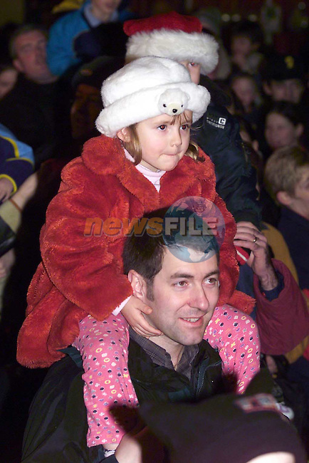 Children watch as the lights are switched on in Dunleer.Pic Fran Caffrey Newsfile