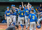 MIDDLETOWN, CT. 06 June 2018-060618BS512 - Seymour's Zack Edwards (4) celebrates with teammates after he scored on a wild throw to first base during the CIAC Tournament Class M Semi-Final baseball game between Seymour and St Joseph at Palmer Field on Wednesday evening. Seymour beat St Joseph 8-0 and will play Wolcott for the Class M championship on Saturday. Bill Shettle Republican-American