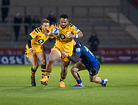 8th November 2019; AJ Bell Stadium, Salford, Lancashire, England; English Premiership Rugby, Sale Sharks versus Coventry Wasps; Sione Vailanu of Wasps is tackled by Rob du Preez of Sale Sharks  - Editorial Use