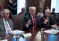 United States President Donald J. Trump makes opening remarks as he holds a Cabinet meeting in the Cabinet Room of the White House in Washington, DC on Wednesday, January 10, 2018.  Pictured from left to right: US Secretary of State Rex Tillerson; President Trump; and US Secretary of Defense Jim Mattis.<br /> CAP/MPI/RS<br /> &copy;RS/MPI/Capital Pictures