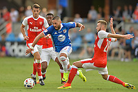 San Jose, CA - Thursday July 28, 2016: Clint Dempsey, Calum Chambers during a Major League Soccer All-Star Game match between MLS All-Stars and Arsenal FC at Avaya Stadium.