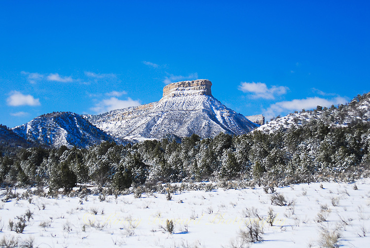 Mesa Verde covered in snow.