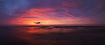 Atmospheric panoramic sunet nature scenery of lake Huron in red and blue colors. Ontario, Canada. Pinery Provincial Park.