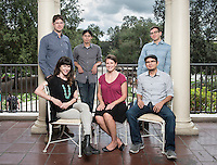Oxy's 2015 class of new assistant professors includes (clockwise from top left) Adam Schoenberg (music), Justin Li (cognitive science), Ross Lerner (English),Jesse Mora (economics), Amanda Zellmer (biology) and Sarah Kozinn (theater). Photographed on Sept. 15, 2015 on Branca Patio.<br />
