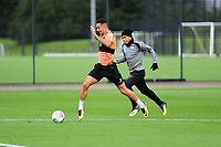 Courtney Baker-Richardson battles with Jefferson Montero of Swansea City during the Swansea City Training Session at The Fairwood Training Ground, Wales, UK. Tuesday 11th September 2018