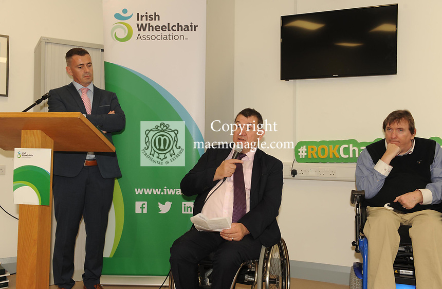 Liam Saunders IWA Area Manager, Michael Hickey Chairman and  IWA Service Coordinator Terry OÕBrien at the opening of the Irish Wheelchair Association new Community Centre at The Reeks Gateway, Killarney on Friday.  Picture: macmonagle.com