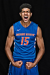 18 OCT 2017:  Chandler Hutchison of Boise State University poses during the Mountain West Men's Basketball Media Summit held at the Hard Rock Hotel and Casino in Las Vegas, NV.   Jamie Schwaberow/NCAA Photos