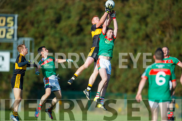 Johnny Buckley Dr Crokes in action against Niall Hickey Kilmurry Ibrickane in the Munster Senior Club Championship Semi Final at Lewis Road, Killarney on Sunday.