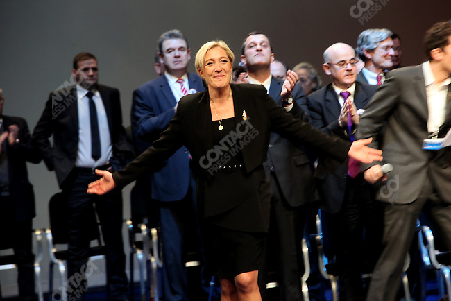 Marine Le Pen succeeds her father Jean-Marie Le Pen as president of the far-right National Front party, at their national congress, Tours, France, January 15-16, 2011