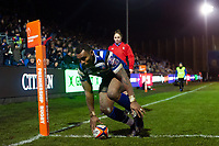 Semesa Rokoduguni of Bath Rugby scores his fourth try of the match. Premiership Rugby Cup match, between Bath Rugby and Gloucester Rugby on February 3, 2019 at the Recreation Ground in Bath, England. Photo by: Patrick Khachfe / Onside Images