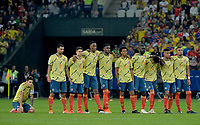 SAO PAULO – BRASIL, 28-06-2019: Jugadores de Colombia lucen nerviosos en la tanda de penales definitorios después del partido por cuartos de final de la Copa América Brasil 2019 entre Colombia y Chile jugado en el Arena Corinthians de Sao Paulo, Brasil. / Players of Colombia look ansioux during the shotout at the end of the Copa America Brazil 2019 quarter-finals match between Colombia and Chile played at Arena Corinthians in Sao Paulo, Brazil. Photos: VizzorImage / Julian Medina / Cont /