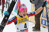 7th January 2018, Val di Fiemme, Fiemme Valley, Italy; FIS Cross Country World Cup, Tour de ski; Ladies 9km F Pursuit; Jessica Diggins (USA) celebrates her podium position