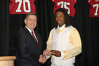 14 January 2007: Bob Bowlsby presents an award to Richard Sherman at the annual football banquet at McCaw Hall in Stanford, CA.