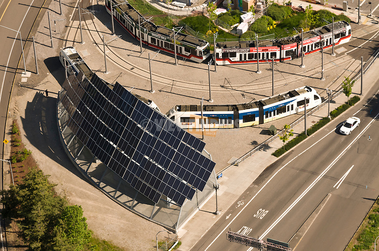 Aerial view looking down at a large solar array at the MAX lightrail turnaround near Portland State University in Portland, OR.