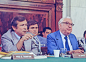 United States Senator Howard Baker (Republican of Tennessee), left, makes a statement as U.S. Senator Sam Ervin (Democrat of North Carolina), Chairman of the U.S. Senate Watergate Committee, right, listens during the hearings investigating the Watergate break-in during the Summer of 1973 in Washington, D.C.<br /> Credit: Arnie Sachs / CNP