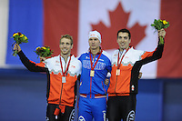 SPEEDSKATING: CALGARY: 15-11-2015, Olympic Oval, ISU World Cup, Podium 500m Men, William Dutton (CAN), Pavel Kulizhnikov (RUS), Alex  Boisvert-Lacroix (CAN), ©foto Martin de Jong