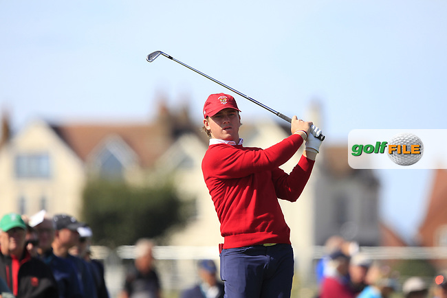 John Augenstein (USA) on the 2nd tee during Day 1 Singles of the Walker Cup at Royal Liverpool Golf CLub, Hoylake, Cheshire, England. 07/09/2019.<br /> Picture: Thos Caffrey / Golffile.ie<br /> <br /> All photo usage must carry mandatory copyright credit (© Golffile | Thos Caffrey)