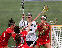 Penn State's Abby Smucker (12) against Ohio State on April 1, 2017. No. 6 Nittany Lions won 16-12 over the Buckeyes.  Photo/©2017 Craig Houtz