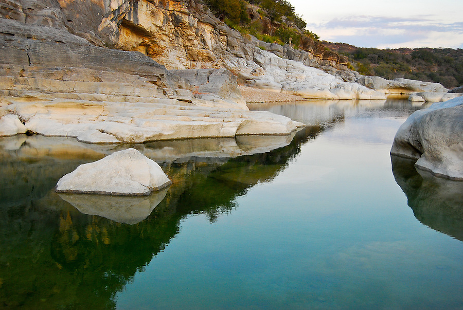 Pedernales River landscape at twilight, Pedernales Falls State Park, Texas, USA.