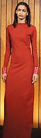 "ODILON FALL 2012<br /> ""OSC8035A RED LON MORTICIA DRESS WITH CENTER BACK SLIT; LUCITE ZIG ZAG BRACELETS IN RED"""