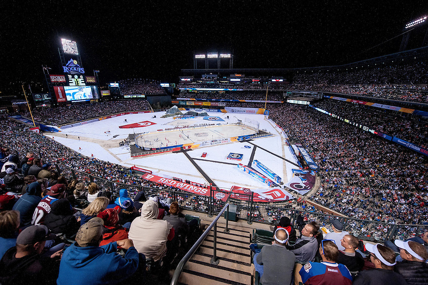 27 FEBRUARY 2016:    A general view from overhead    during a NHL Stadium Series game between the Red Wings an Avalanche at Coors Field in Denver Denver, Colorado.  (Photo by Dustin Bradford/Icon Sportswire)
