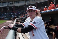 Oregon State Beavers infielder Jake Harvey (2) before a game against the New Mexico Lobos on February 15, 2019 at Surprise Stadium in Surprise, Arizona. Oregon State defeated New Mexico 6-5. (Zachary Lucy/Four Seam Images)