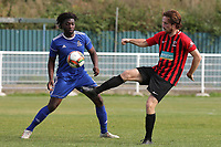 Jack Leachman of Saffron Walden and Charleston Brown of Redbridge during Redbridge vs Saffron Walden Town, Essex Senior League Football at Oakside Stadium on 7th September 2019