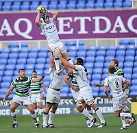 Reading, England. James Gaskell of Sale Sharks wins the line out during the LV= Cup match between London Irish and Sale Sharks at Madejski Stadium on November 11, 2012 in Reading, England.