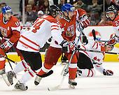 Jamie Benn (Canada - 24), Jan Kana (Czech Republic - 9) - Team Canada defeated the Czech Republic 8-1 on the evening of Friday, December 26, 2008, at Scotiabank Place in Kanata (Ottawa), Ontario during the 2009 World Juniors U20 Championship.