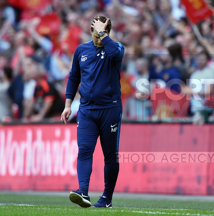 An unhappy Tottenham Hotspur Manager Mauricio Pochettino during the FA cup semi-final match at Wembley Stadium, London. Picture date 21st April, 2018. Picture credit should read: Robin Parker/Sportimage