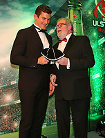 Thursday 10th May 2018 | Ulster Rugby Awards 2018<br /> <br /> Ulster Branch President, Graffin Parke, presents Robbie Diack with his 200 Cap during the 2018 Heineken Ulster Rugby Awards at La Mom Hotel, Belfast. Photo by John Dickson / DICKSONDIGITAL