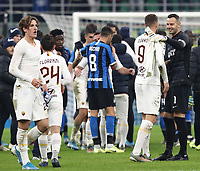 Calcio, Serie A: Inter Milano - AS Roma, Giuseppe Meazza stadium, December 6, 2019.<br /> Roma's and Inter's players greets at during the Italian Serie A football match between Inter and Roma at the end of the the Italian Serie A football match between Inter and Roma at Giuseppe Meazza (San Siro) stadium, on December 6, 2019.<br /> The result of the match is 0-0.<br /> UPDATE IMAGES PRESS/Isabella Bonotto