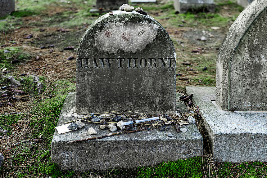 Grave site of Nathanial Hawthorne, Sleepy Hollow Cemetery, Concord, Massachusetts, USA
