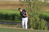 Paul Casey (ENG) plays his 2nd shot from the rough on the 18th hole during Saturday's Round 3 of the Porsche European Open 2018 held at Green Eagle Golf Courses, Hamburg Germany. 28th July 2018.<br /> Picture: Eoin Clarke | Golffile<br /> <br /> <br /> All photos usage must carry mandatory copyright credit (&copy; Golffile | Eoin Clarke)