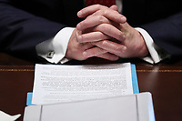 President Donald Trump prays during a Cabinet Meeting in the Cabinet Room of the White House on November 19, 2019 in Washington, DC.<br /> (Photo by Oliver Contreras/SIPA USA)<br /> Credit: Oliver Contreras / Pool via CNP/AdMedia