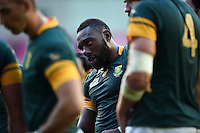 Tendai Mtawarira of South Africa looks on during a break in play. Rugby World Cup Pool B match between South Africa and Japan on September 19, 2015 at the Brighton Community Stadium in Brighton, England. Photo by: Patrick Khachfe / Onside Images