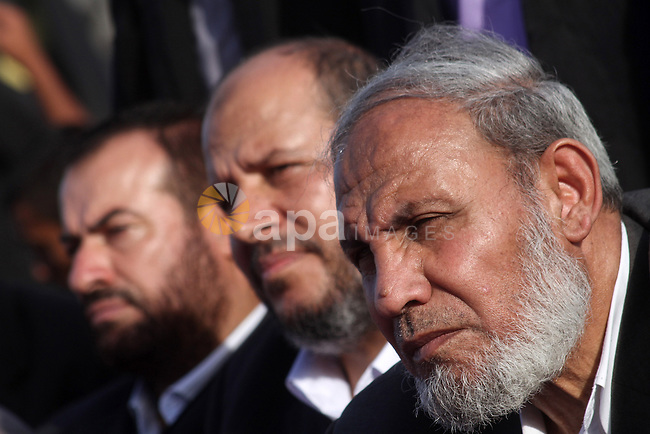 Leaders from Hamas movement attend a rally to mark the 23rd anniversary of the establishment of the Islamic Jihad movement and the assassination of the founder of their movement Fathi Shiqaqi , in Gaza city on Oct. 29,2010 . Photo by Ashraf Amra