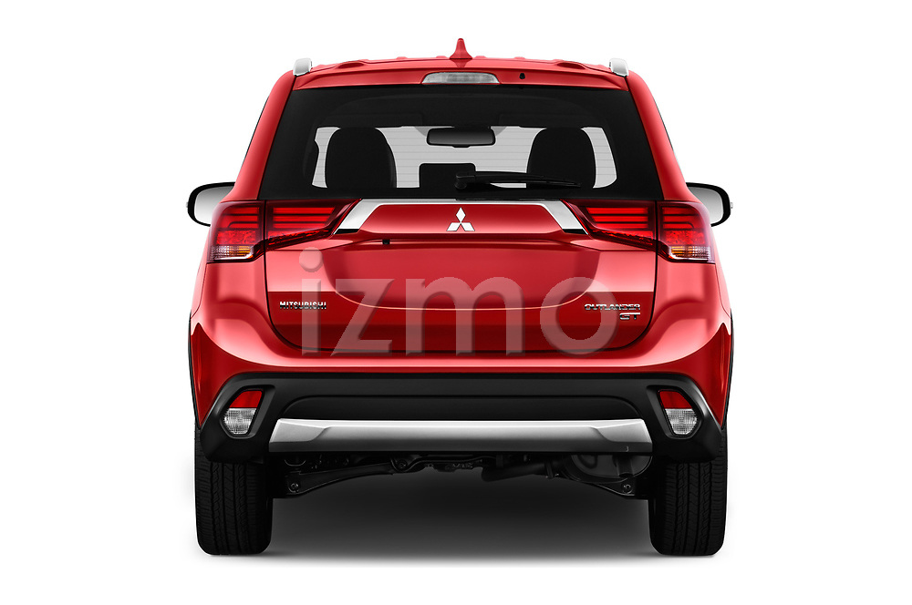 Straight rear view of a 2018 Mitsubishi Outlander GT 4WD 5 Door SUV stock images