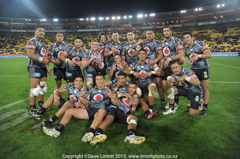 The Warriors under-20s pose for a team photo after the NRL Holden Cup rugby league match between the NZ Warriors under-20s and Canterbury Bulldogs at Westpac Stadium, Wellington, New Zealand on Saturday, 11 May 2013. Photo: Dave Lintott / lintottphoto.co.nz